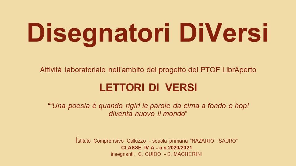 """Disegnatori DiVersi"" – Classe IV A scuola primaria N. Sauro"